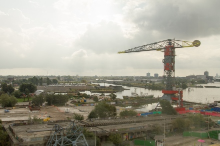 Viev from the hotel room over the old shipyard area. The crane is a hotel!