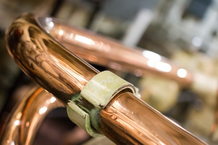A copper pipe from dip within the warship HMS Belfast - photographed when Julie and I did a tour